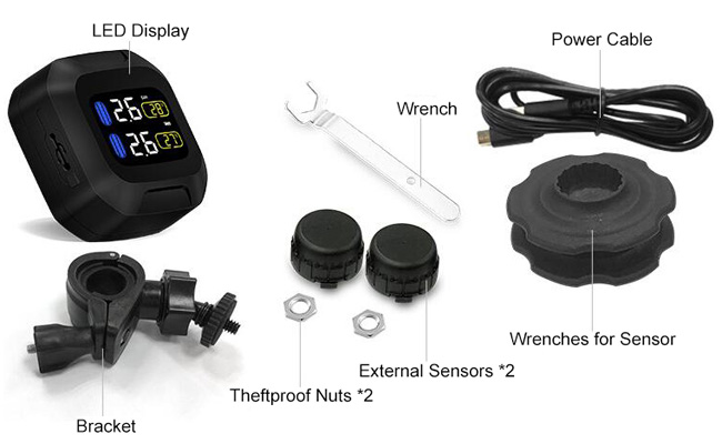 Motorcycle TPMS with 2 black external tire sensors packing list