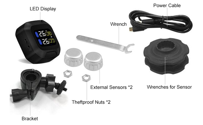 Motorcycle TPMS with 2 silver external tire sensors packing list