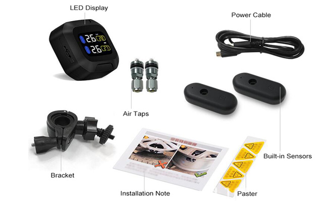 Motorcycle TPMS with 2 built-in tire sensors packing list