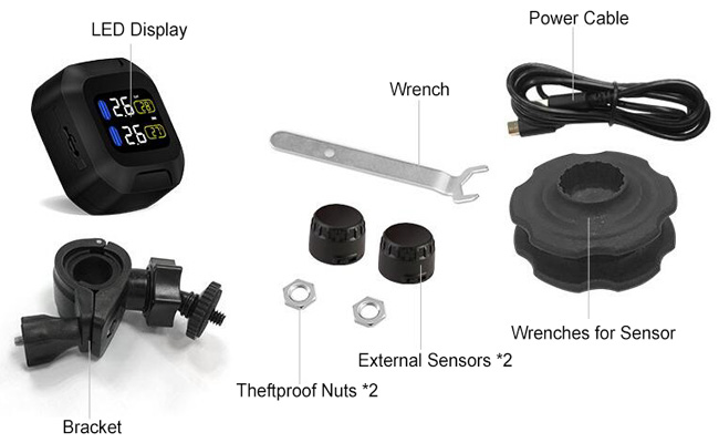Motorcycle TPMS with Mini Black External Sensors Packing List