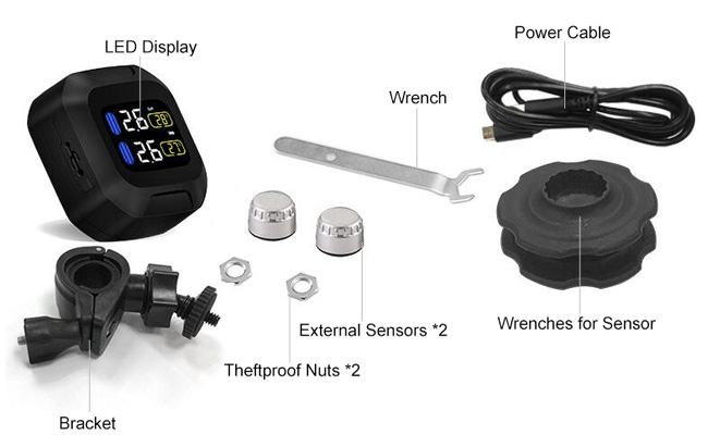 Motorcycle TPMS with mini silver external sensors packing list