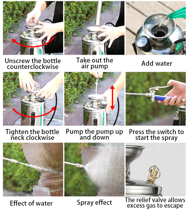 Operation of garden pump sprayer