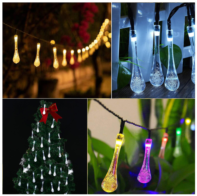 30 LED Outdoor Solar Powered Water Drop String Lights