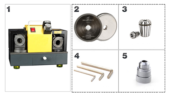 Packing List of 160W Drill Bit Sharpener Grinder