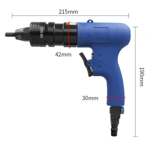 Pneumatic Rivet Nut Gun M8/M10 Dimensions
