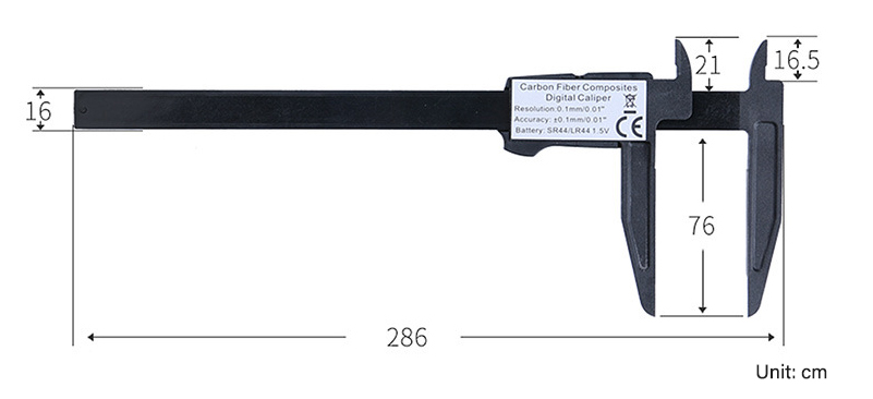 Size of 200 mm plastic digital vernier caliper