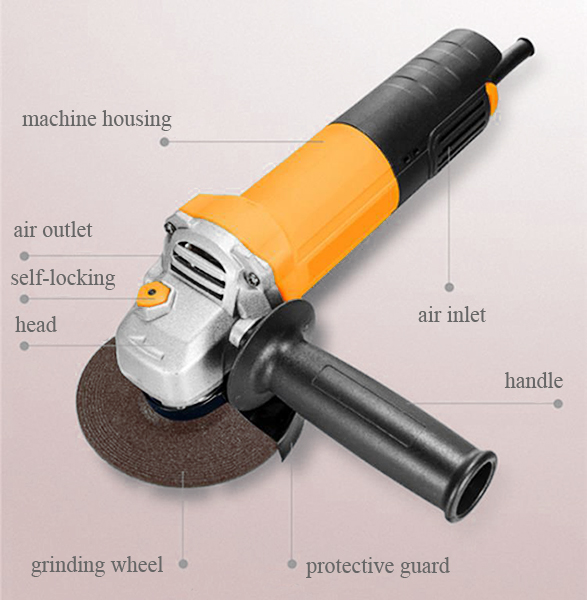 Structure of 7, 9 Inch Angle Grinder, 6500/8000 rpm, 11~21 Amps