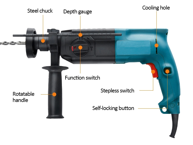 Structure of Rotary Hammer with SDS Drill, 620W, 24mm