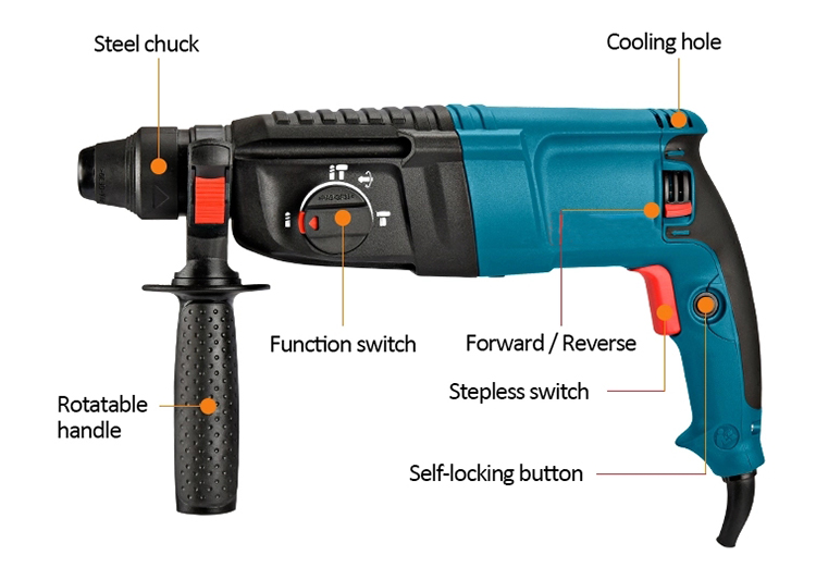 Structure of Rotary Hammer with SDS Drill, 800W, 26mm