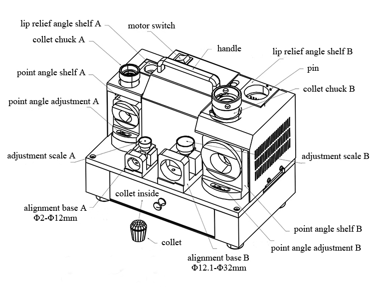 Structure Diagram of Drill Bit Sharpener Grinder, 1~26mm, 250W, Model G3