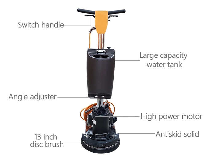 Structure Diagram of 1.0HP Floor Polisher Machine, 150rpm, 13 in