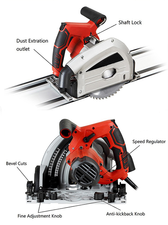 Structure Diagram of 6.5 Inch Plunge-Cut Track Saw, 6 Amp