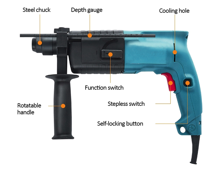 Structure Diagram of Rotary Hammer with SDS Drill, 500W, 20/22mm