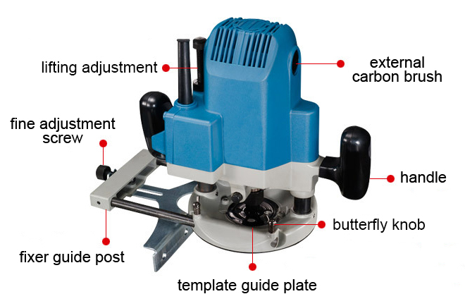Structure Diagram of  1/2 Inch Electric Wood Router, 1600W, 7.3A