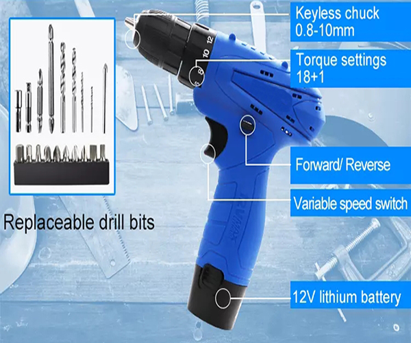 Structure of 12V 18mm Cordless Drill, Model 0712D