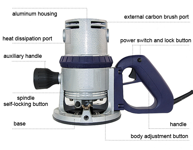 Structure Diagram of 3/8 inch Electric Wood Router, 2.4 HP, 8.2A