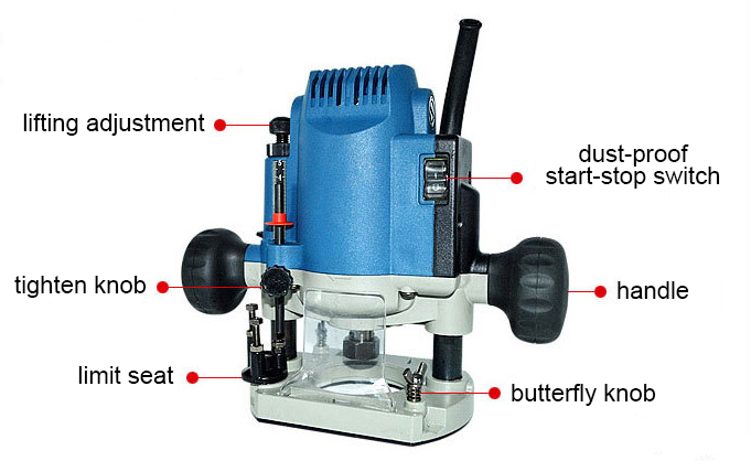Structure Diagram of 1/3 inch Electric Wood Router, 1-1/5 HP, 4A