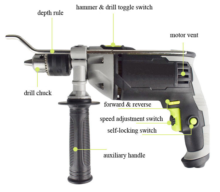 Structure Diagram of 4.4~4.8A Impact Hammer Drill, 2/5, 1/2, 1/10-in