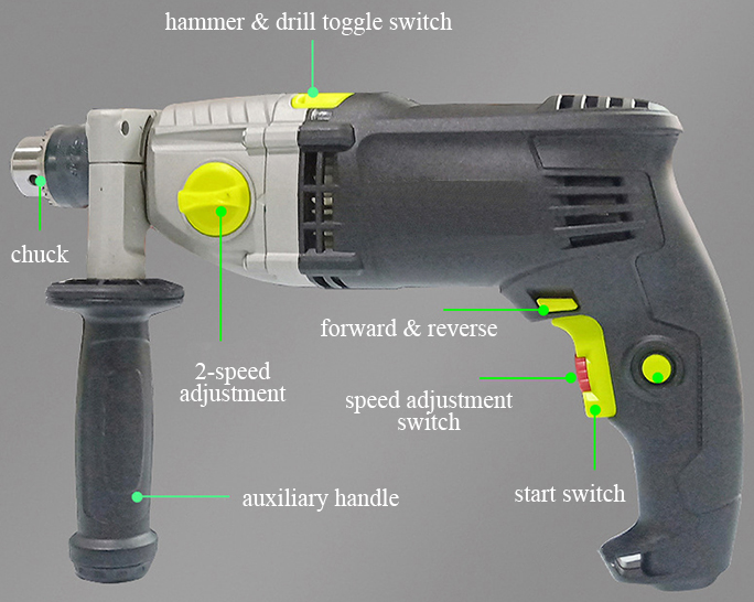 Structure of 5~5.5A Impact Hammer Drill, 1/2 Inch