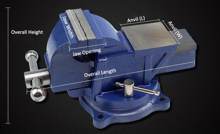 Swivel Base Bench Vise Dimension Drawing