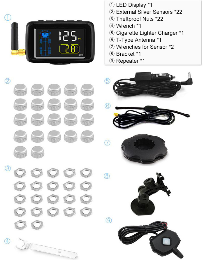 Truck TPMS with External Silver Sensors U901RV-WF Package
