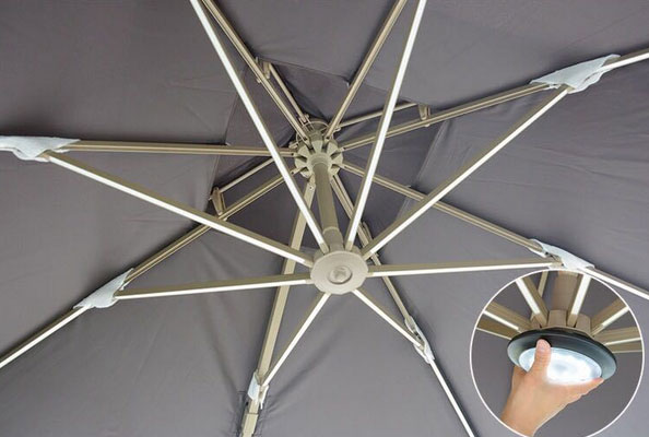 Patio umbrella with solar lights